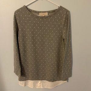 Loft small grey/white polka dot shirt